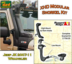 17756-20-NEW-Rugged-Ridge-Jeep-JK-2007-2011-XHD-MODULAR-SNORKEL-INTAKE-KIT