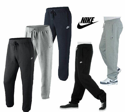 New Mens NIKE Tracksuit Bottoms Joggers Fleece 3D Logo Pants Grey Navy Black