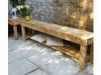 Rusty Long Bench, TV Bench, Garden Bench ,Hand Made From Reclaimed Pallet Wood
