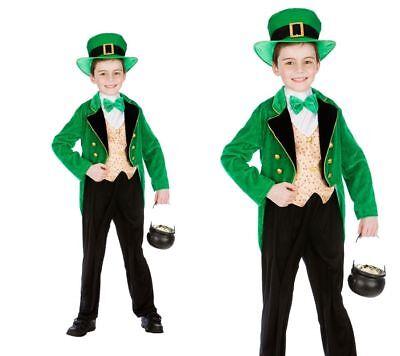 Leprechaun Boy Deluxe Costume Kids Boys Irish St Patricks Day Age 3-13 Years