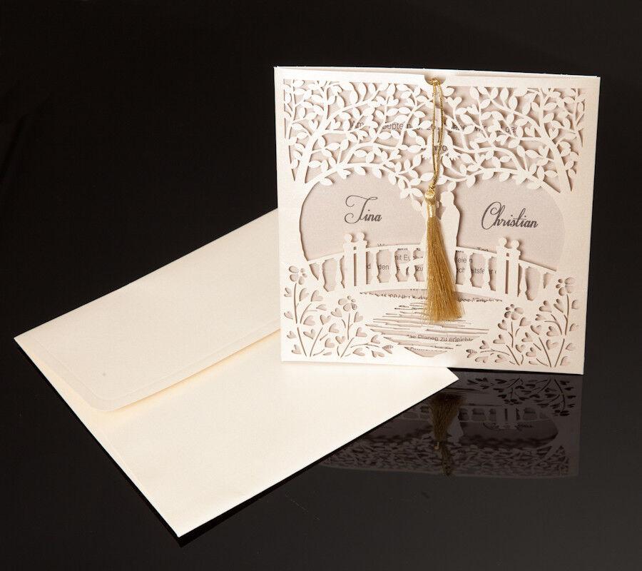 Einladungskarten Hochzeit FE344R mit Umschlag!
