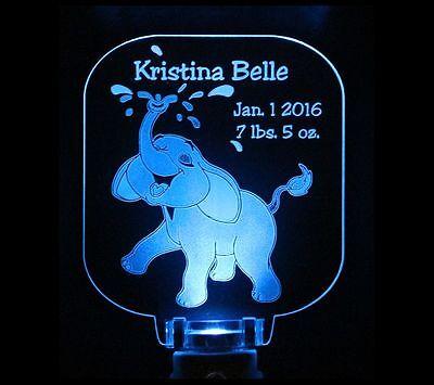Elephant Night Light Personalized, Baby Shower Gift, Nursery decor