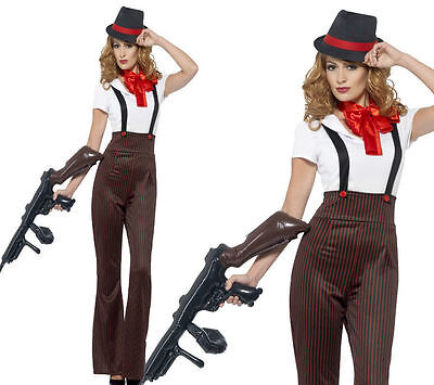 1920 Womens Gangster Costume (Ladies Glam Gangster dressing up costume adult 1920s Gatsby 20s party)
