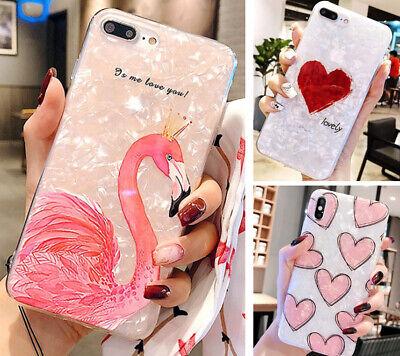 Flamingo Herz Liebe Perlweiß * iPhone 6/6s 7 8 Plus XS MAX (Herz Plus)