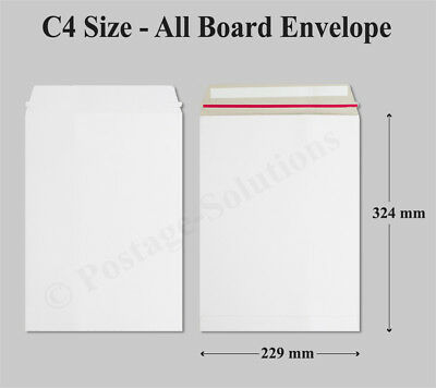 50 x Strong C4 / A4 Size ALL BOARD White Postal Mailing Envelopes 324x229mm