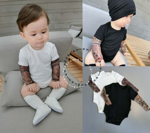 Kids Toddler Baby Fashion Tattoo Arm Mesh Sleeve 6-24M Romper 18M-6Y T-Shirt
