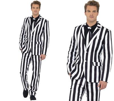 Hommes Charlatan Debout Costume Blanc & Noir à Rayures Costume - Kostüm Homme Noir