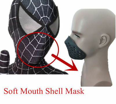 Spider-man Breathing Mouth Shell Mask Soft Non-Toxic Rubber Spiderman Half Mask (Spiderman Mask Black)