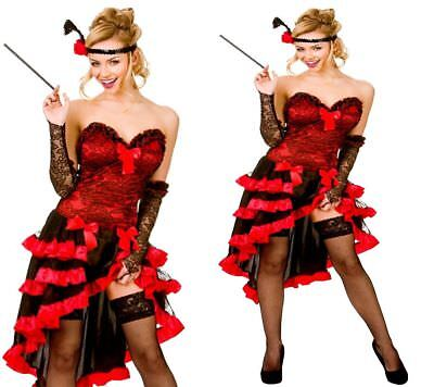 Show Girl Outfits (Damen Rote Wild West Showgirl Mädchen Saloon Burleske Kostüm Outfit UK)