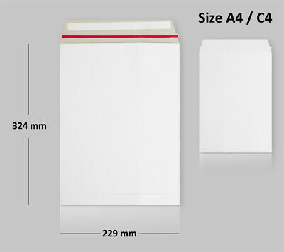10 ALL Board Envelopes White Postal Mailer C4 Size PEEL&SEAL - FAST DELIVERY