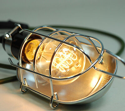 Vintage Industrial Chrome Inspection Lamp Pendant Cage Desk Light & Edison Bulb