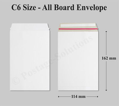 10 x Strong C6 / A6 Size ALL BOARD White Postal Mailing Envelopes 162x114mm