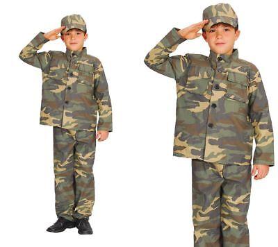 Kinder Commando Kostüm (Kinder Aktion Commando Kostüm Militär Armee Junge Kostüm Neu 3-13 Jahre)