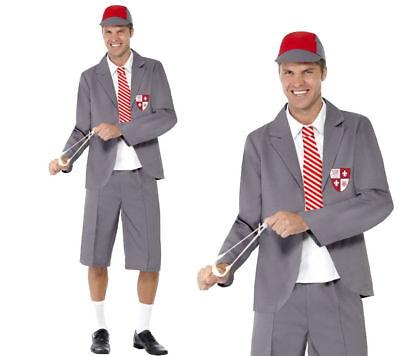 Mens School Boy Fancy Dress Costume Uniform Nerd Angus Geek Chest ()