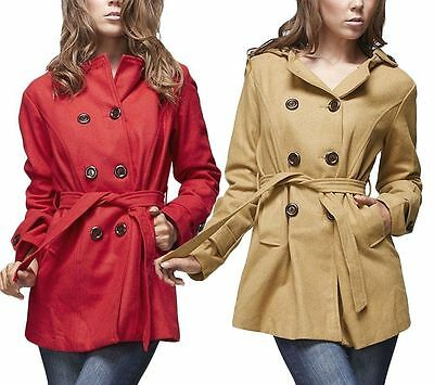 Breasted Belted Wool Coat (Wool Blend Double Breasted Animal Print Hooded Belted COAT S, M, L)