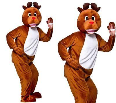 Erwachsene Herren Unisex Rentier Maskottchen Weihnachten Kostüm Rudolf Rot Nase