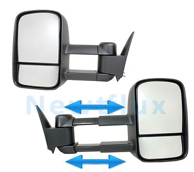 Pair MANUAL TOW MIRRORS(L+R)~Side View Telescoping Extend~88-98 Chevy GMC Truck