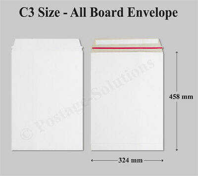1000 x Strong C3 / A3 Size ALL BOARD White Postal Mailing Envelopes 458x324mm