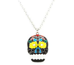 New-Rockabilly-Sugar-Skull-Necklace-Day-Of-The-Dead-Charm-Necklace-Large-Skull