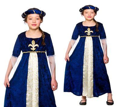 Mädchen Prinzessin Mittelalter Kostüm Buch Woche Blau - Kostüm Mädchen Buch Woche
