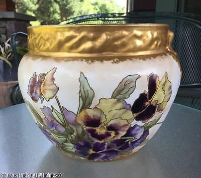 Antique 1893-1898 Warwick Semi-Porcelain PANSIES Large Jardinière Planter Bowl