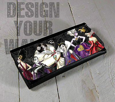 Womens Wallet Leather bifold Disney Villains. cruella ursela evil queen