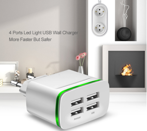 4 Port USB 5V 4A LED Home Travel Fast Charging Phone Wall Charger Adapter