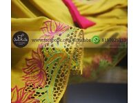 Crepe Silk Baptism Saree with Cutwork