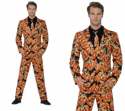 Mens Pumpkin Suit Stand Out Suit Costume Adult Halloween Fancy Dress New