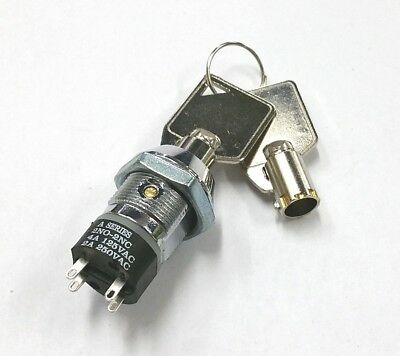 New Philmore 30-10077b Dpst On Or Off Position Tubular Barrel Type Key Switch