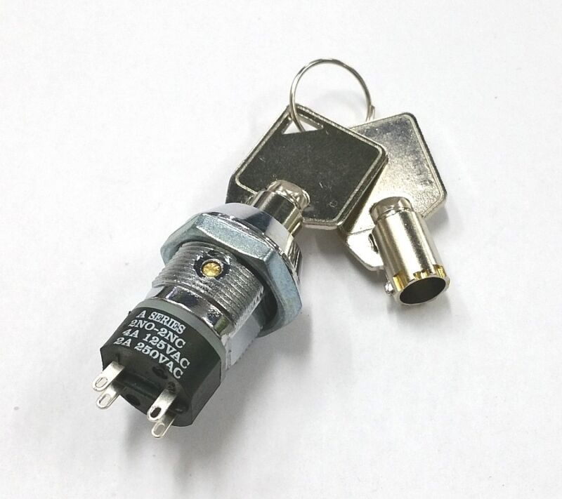 NEW Philmore 30-10077B DPST, ON or OFF Position, Tubular Barrel Type Key Switch