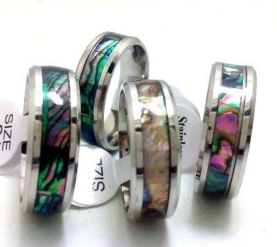 Wholesale 25 Men Women Stainless Steel Abalone Shell Ring Couple Wedding Rings