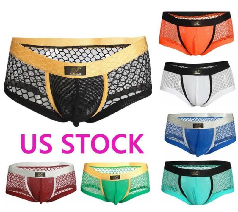 US Mens See Through Bikini Briefs Jockstrap Underwear Thong Underpants Knickers