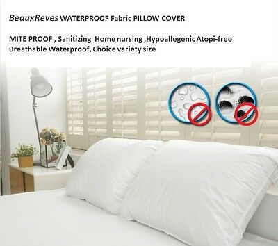 BeauxReves WATERPROOF Fabric Pillow Cover 2 size & Matt Pad MITE Allegy PROOF (Mite Proof Pillow Cover)