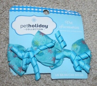 NEW Petco Pet Accessories Hair Bows for Dogs Blue w/Snowflakes Holiday Christmas