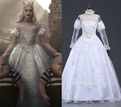 Alice in Wonderland Königin Disney Cosplay Kostüm Abend-kleid lang Weiss (Disney Satin Kostüm)