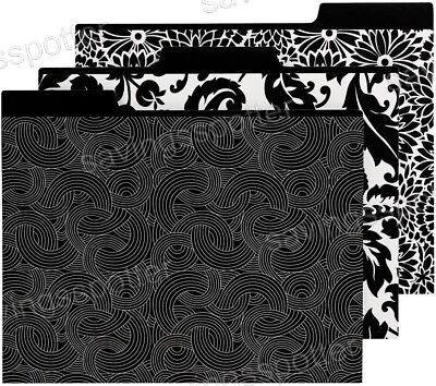 Martha Stewart Avery File Folders Decorative Letter-size Black 3 Patterns 6 Pack