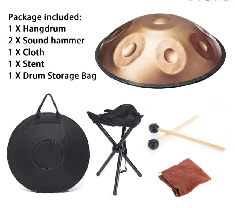 9 Note D Minor Handpan Drum Stainless Steel Percussion Hand Pot