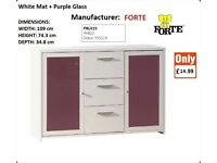 BRAND NEW FORTE MODERN CHEST OF DRAWER White Mat + Purple Glass CHEAPEST COLLECTION OR DELIVERY LAST