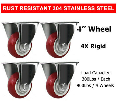 4 Pcs 4 Stainless Steel Rigid Caster Wheel Red Poly Casters Wheels