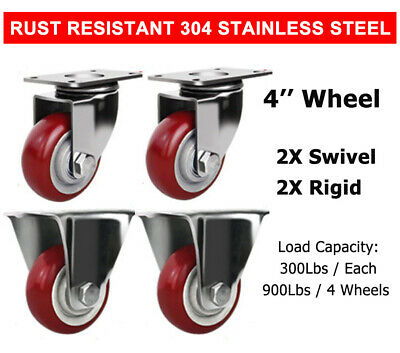 2 Swivel 2 Rigid 4 Stainless Steel Caster Wheel Poly Casters