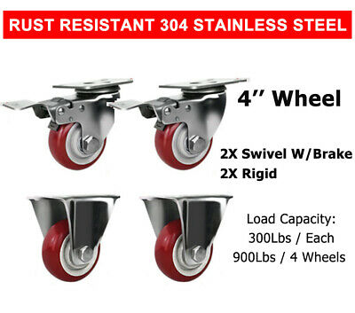 2 Swivel With Brake 2 Rigid 4 Stainless Steel Caster Wheel Poly Casters