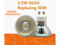 New 3.5W Glass GU10 COB LED Light Bulb Lamp Spotlight Non-Dimmable Cool Day White, Retrofit