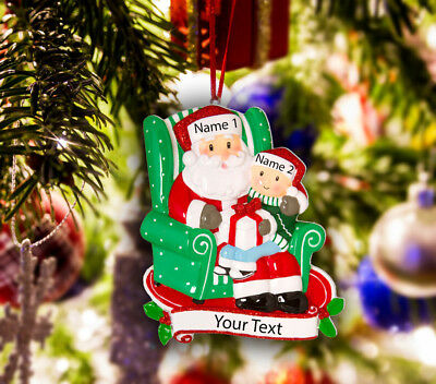 Personalized Christmas Tree Ornament Holiday Gift, Santa with Gift Box and Child