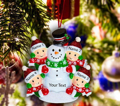 Snowman Ornament (Personalized Christmas Tree Ornament Holiday Gift, Snowman for Family of)