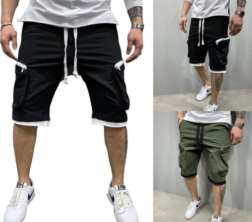 Mens Casual Zipper Pocket Shorts Sport Joggers Pants Summer Gym Fitness Workout
