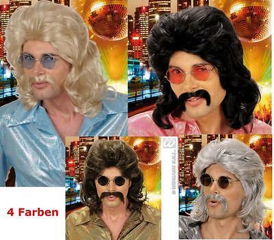 70er Jahre Perücke mit Schnauzer, schwarz,braun,blond, grau, Motto 0806
