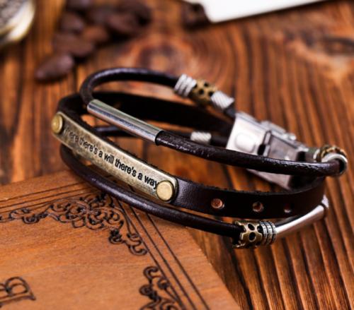 Vintage Men Metal Steel Studded Surfer Leather Bangle Cuff Bracelet Gift New