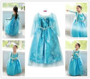 Princess-Girl-Kids-Queen-Elsa-Cosplay-Frozen-Costume-Party-Fancy-Dress-Uk-Seller