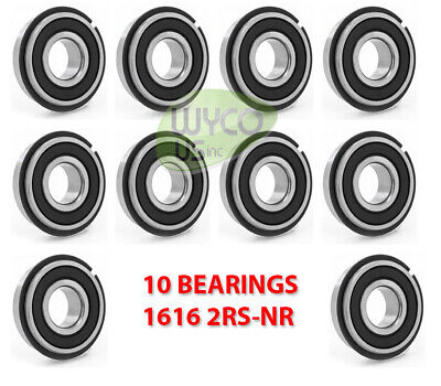 10 Ball Bearings W Retainer Snap Ring 1616-2rs-nr 12id X 1-18od